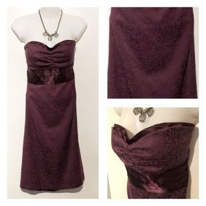 (8) Plum Strapless Dress with Satin Detailing !!!